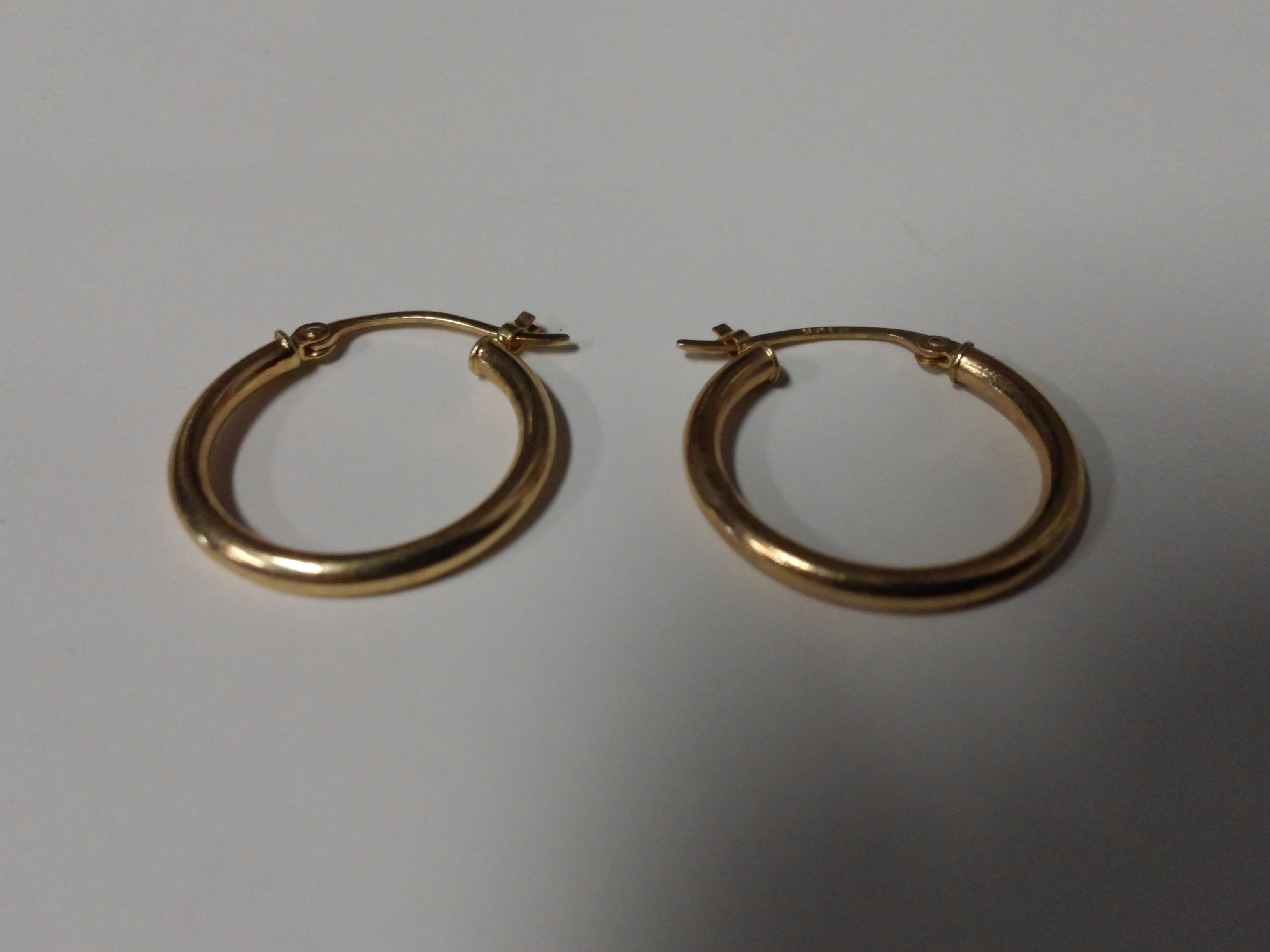 A set of Solid 10k Gold 3/4 inch Hoop Earrings