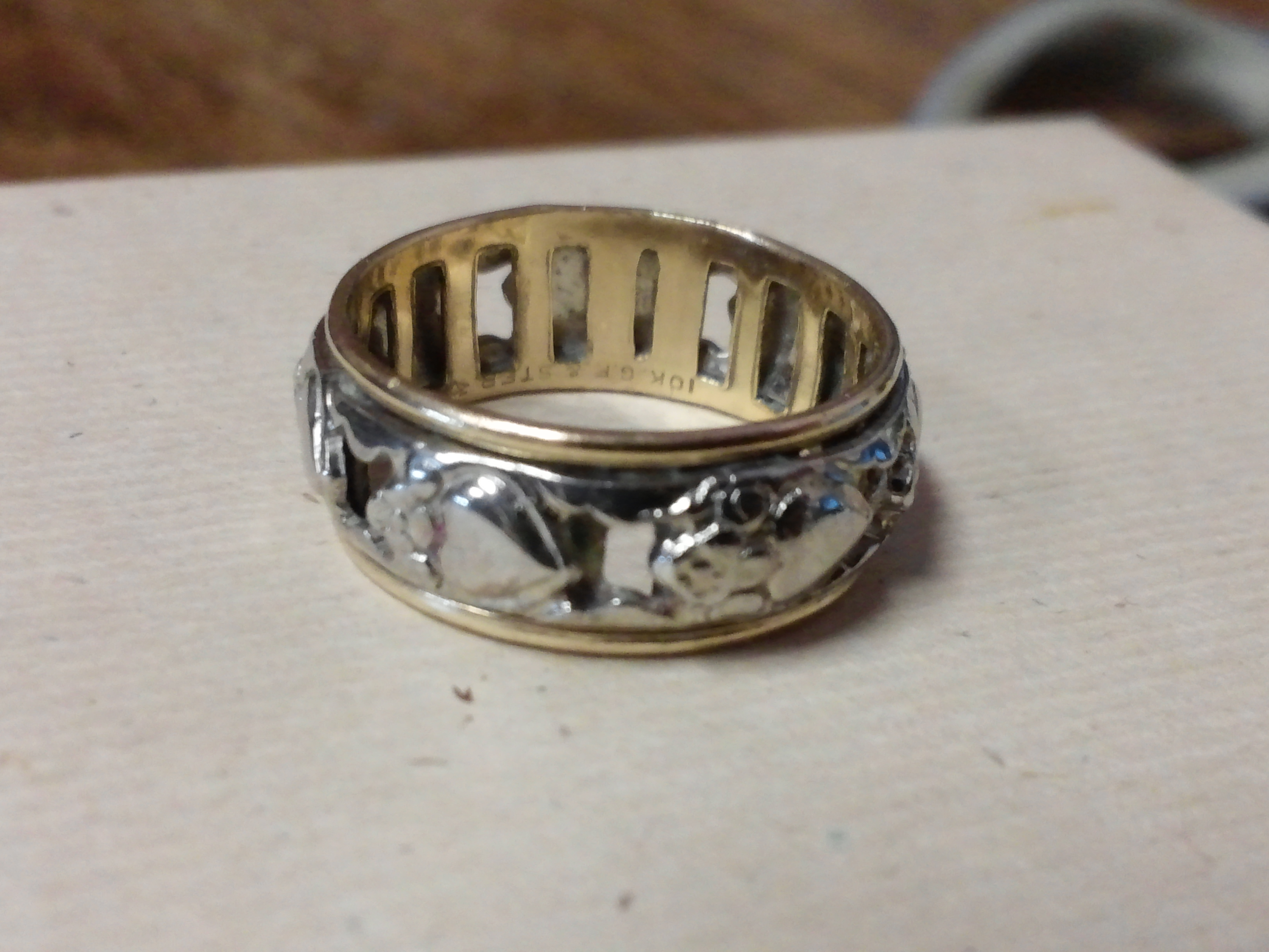 beautiful ornate 10k gold silver ring size 8 trade